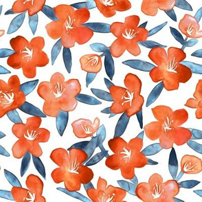 Bold Spring Flowers in Tangerine, Blue and White