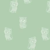 Folk Art Owls on Soft Green