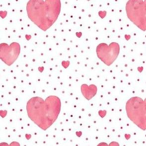 Pink aquarel dots and hearts