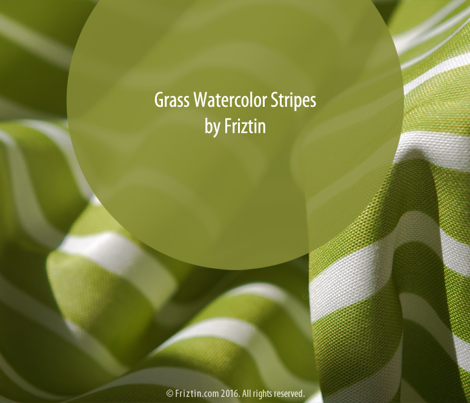 Grass Green Watercolor Stripes by Friztin