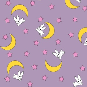 Moon Bunnies Blanket Print