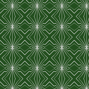 Abstract Diamonds in Dark Green and White