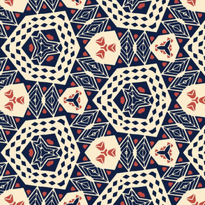 Abstract Geometric in Red, White and Blue