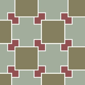 Overlapping Squares in Greens and Red