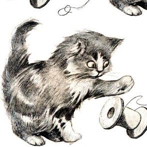 vintage retro kitsch whimsical black cats kittens monochrome black white playing spool thread yarn sewing