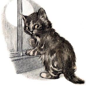 vintage retro kitsch whimsical black cats kittens monochrome white windows moon night