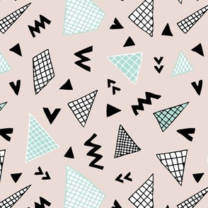 Cool abstract memphis style geometric triangle and arrow shapes gender neutral beige mint
