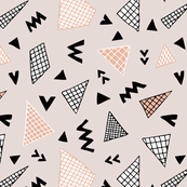 Cool abstract memphis style geometric triangle and arrow shapes gender neutral beige coral orange