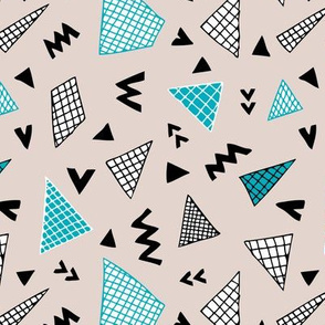 Cool abstract memphis style geometric triangle and arrow shapes gender neutral beige blue