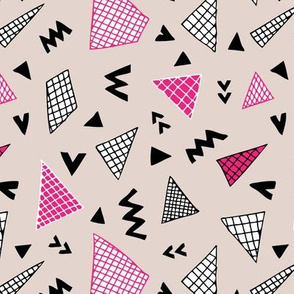 Cool abstract memphis style geometric triangle and arrow shapes gender pink for girls