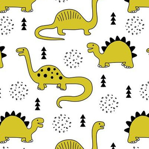 Adorable quirky dino illustration geometric dinosaur animals for kids black and white gender neutral mustard yellow