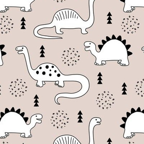 Adorable quirky dino illustration geometric dinosaur animals for kids black and white gender neutral beige sand