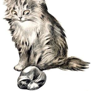 vintage retro kitsch whimsical black cats kittens monochrome black white