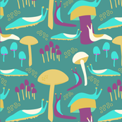 slugs and mushrooms on teal