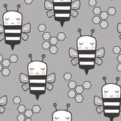 Bees Honeycomb Black&White on Grey