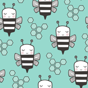 Bees Honeycomb Black&White on Mint Green