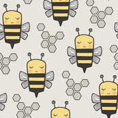 Bees Honeycomb on Light Grey