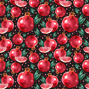 Watercolour Pomegranates on Black