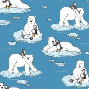 Polar Bear Loves Penguin - blue