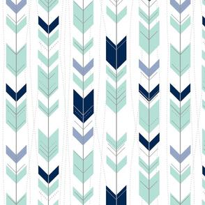 tribal arrows // mint indigo denim