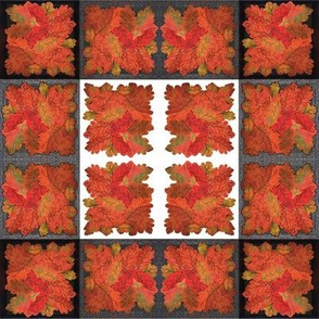 Handmade Autumn Oak Leaves -Cheater Cloth