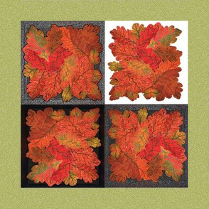 Quilted Autumn Oak Leaves 4-patch cheater cloth - Sage