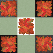 Handmade Autumn Oak Leaves 9-patch cheater cloth