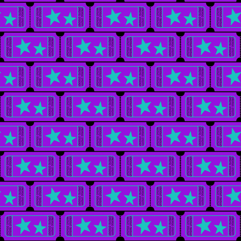 Carnival Ticket Stars Binary I Love You Purple Teal on Black
