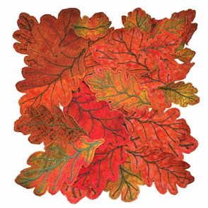 Quilted Autumn Oak Leaves on White