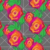 Roses on Gray Trellis_Miss Chiff Designs