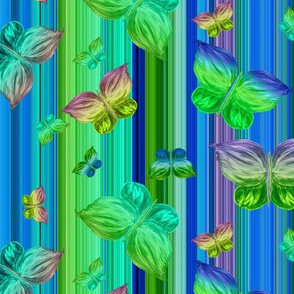 BUTTERFLIES EXOTIC JUNGLE ORCHID FLOWERS  Blue Butterfly stripes
