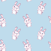 Cartoon rabbits on blue