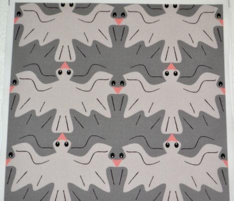Tessellating Pigeons Neutral Pewter Gray