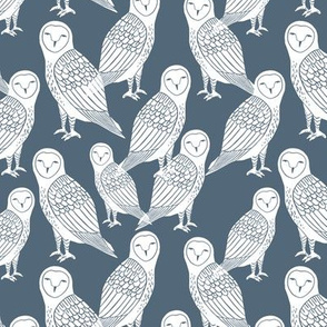 owl // payne's grey dusty blue block printed owl in blue and white