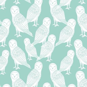 owls // block printed owls on mint hand-carved seamless pattern for kids designs