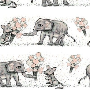 SIZE DOESN't MATTER ELEPHANT MICE FRIENDSHIP BOUQUET White