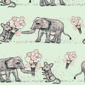 SIZE DOESN't MATTER ELEPHANT MICE FRIENDSHIP BOUQUET Almond  green