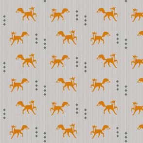 Textured fox on gray