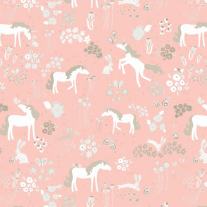 Unicorns bunnies and bubbles blush and beige