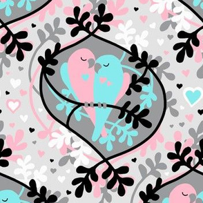 Little Lovebirds in Pink and Turquoise