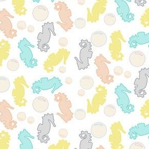 Seahorses & Bubbles, White