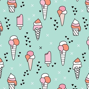 Cute ice cream popsicle cream candy dream kids illustration i love summer scandinavian style pattern mint pink