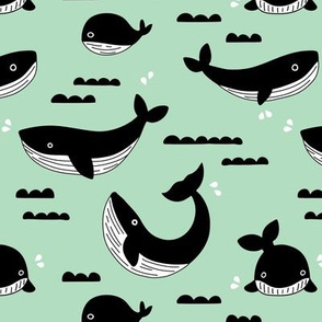 Black and white whale ocean theme illustration design under water world sea life mint