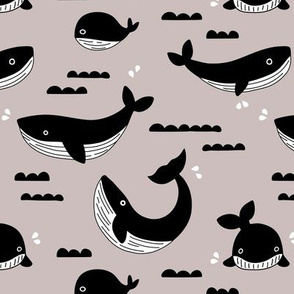 Black and white whale ocean theme illustration design under water world sea life beige