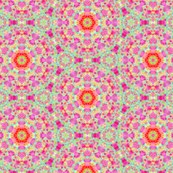 Retro Flowered Dotted Pattern in Purple, Pinks, Oranges & light green