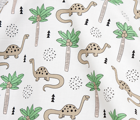 Super cute palm trees and dinosaurs illustration indian summer theme for kids mint beige