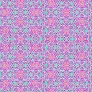 Green, pink and purple dotted flower pattern
