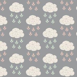 It's Raining Gems - Grey, Cream, Cucumber, Peach