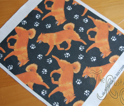 Trotting Finnish spitz and paw prints - black