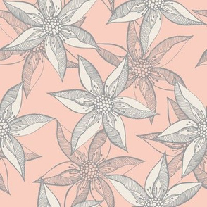 Love Blooms - Grey Cream on Peach by Rhonda W